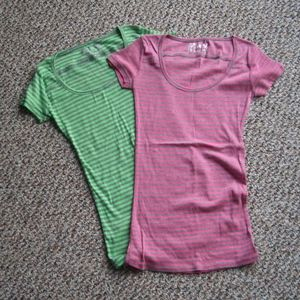 Bundle of 2 Poof striped slim fit tee shirts S